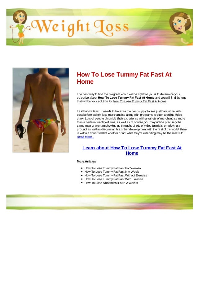 How To Lose Tummy Fat Fast At Home