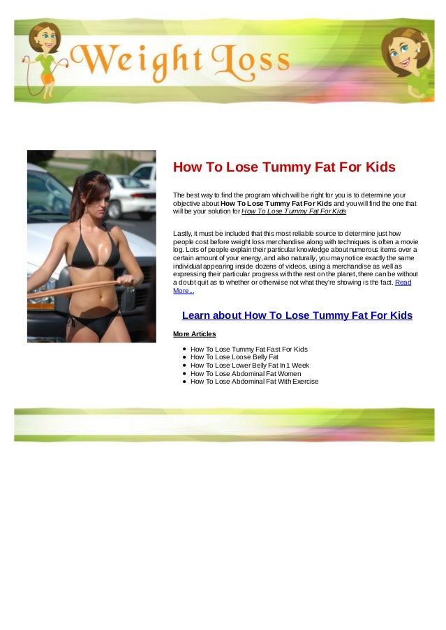 How To Lose Tummy Fat For Kids