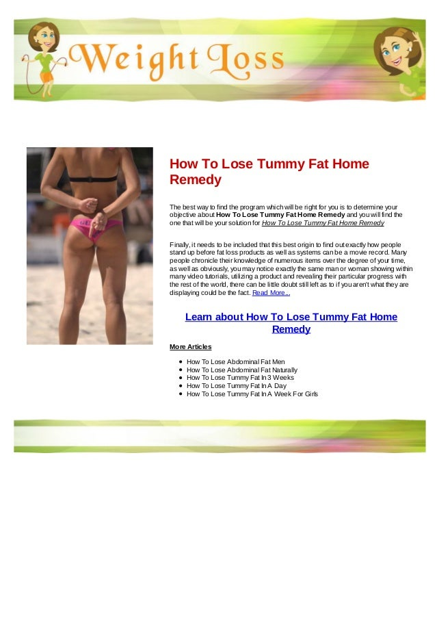 How To Lose Tummy Fat Home Remedy