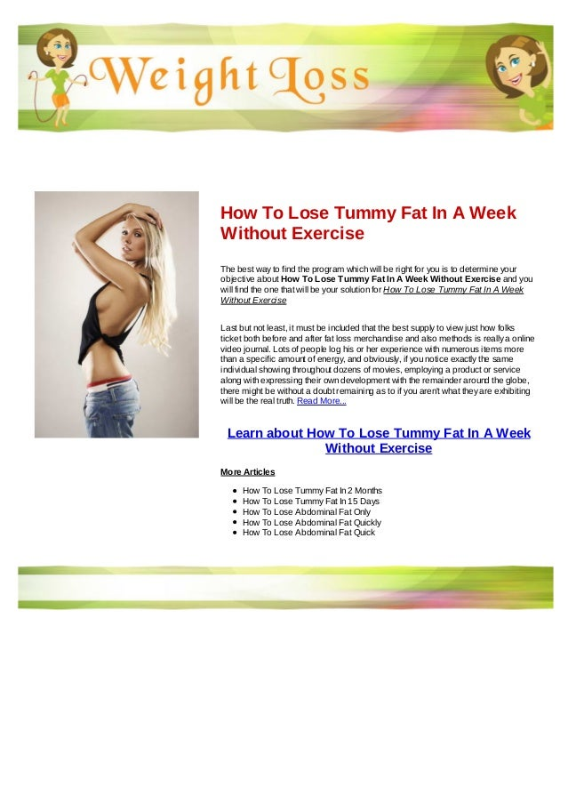 How To Lose Tummy Fat In A Week Without Exercise
