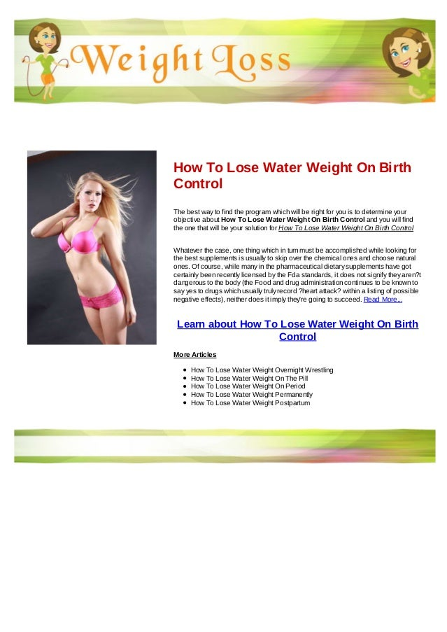 How to lose birth control pill weight
