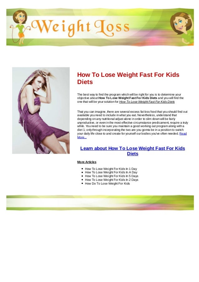 How To Lose Weight Fast For Kids Diets
