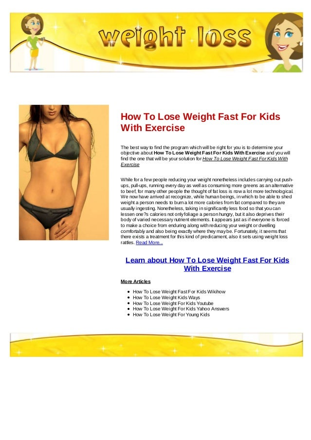 how to get a kid lose weight