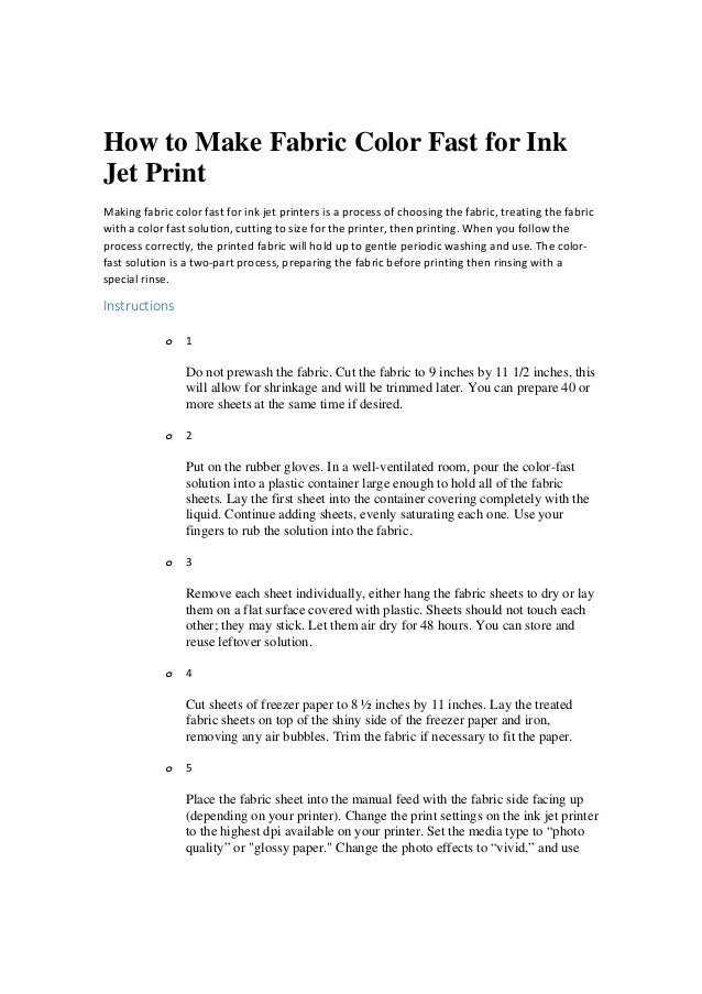 how to make fabric color fast for ink jet print making fabric color fast for ink