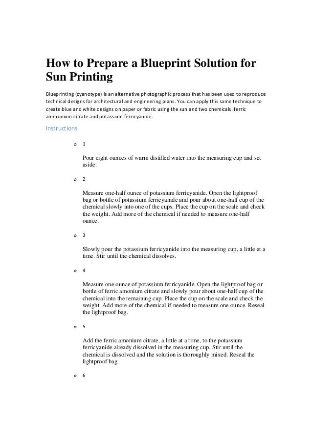 How to prepare a blueprint solution for sun printing how to prepare a blueprint solution for sun printing blueprinting cyanotype is an alternative malvernweather Choice Image