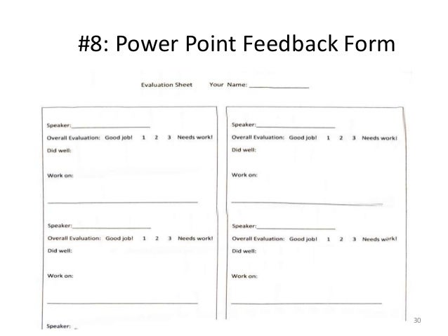 How to of public speaking for ESL Students – Speaker Feedback Form