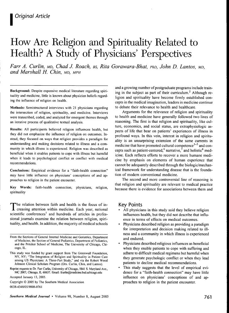 How  Are  Religion And  Spirituality  Related To  Health  A  Study Of  Physicians