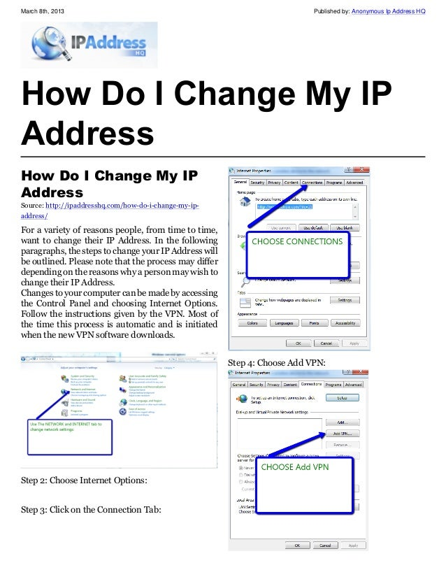 If you need to change your IP address there are a few ways to do it