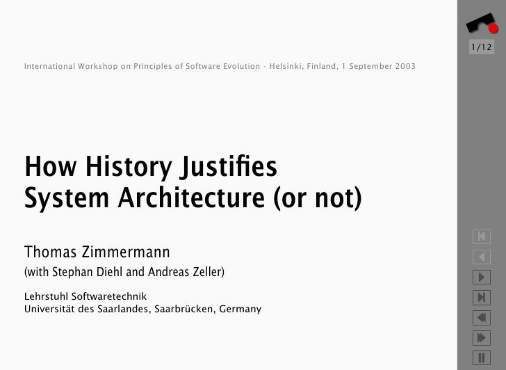 1/12  International Workshop on Principles of Software Evolution · Helsinki, Finland, 1 September 2003     How History Jus...