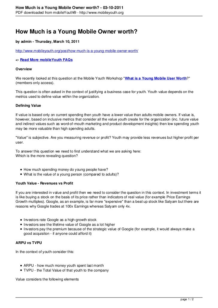 How Much is a Young Mobile Owner worth? - 03-10-2011PDF downloaded from mobileYouth® - http://www.mobileyouth.orgHow Much ...