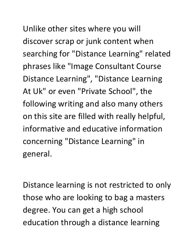 """Unlike other sites where you will discover scrap or junk content when searching for """"Distance Learning"""" related phrases li..."""