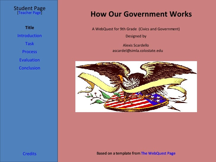 Student Page Title Introduction Task Process Evaluation Conclusion Credits [ Teacher Page ] Based on a template from  The ...