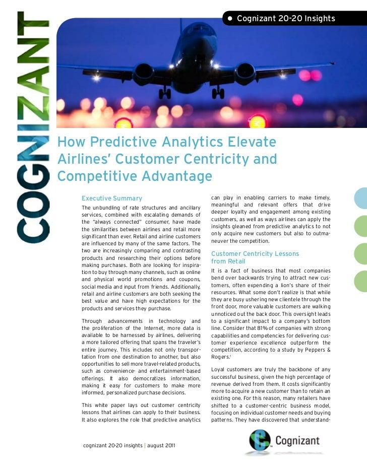 • Cognizant 20-20 InsightsHow Predictive Analytics ElevateAirlines' Customer Centricity andCompetitive Advantage   Executi...