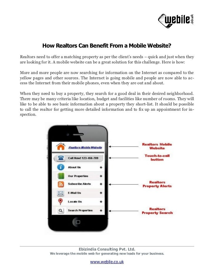 How Realtors Can Benefit From a Mobile Website?Realtors need to offer a matching property as per the client's needs – quic...