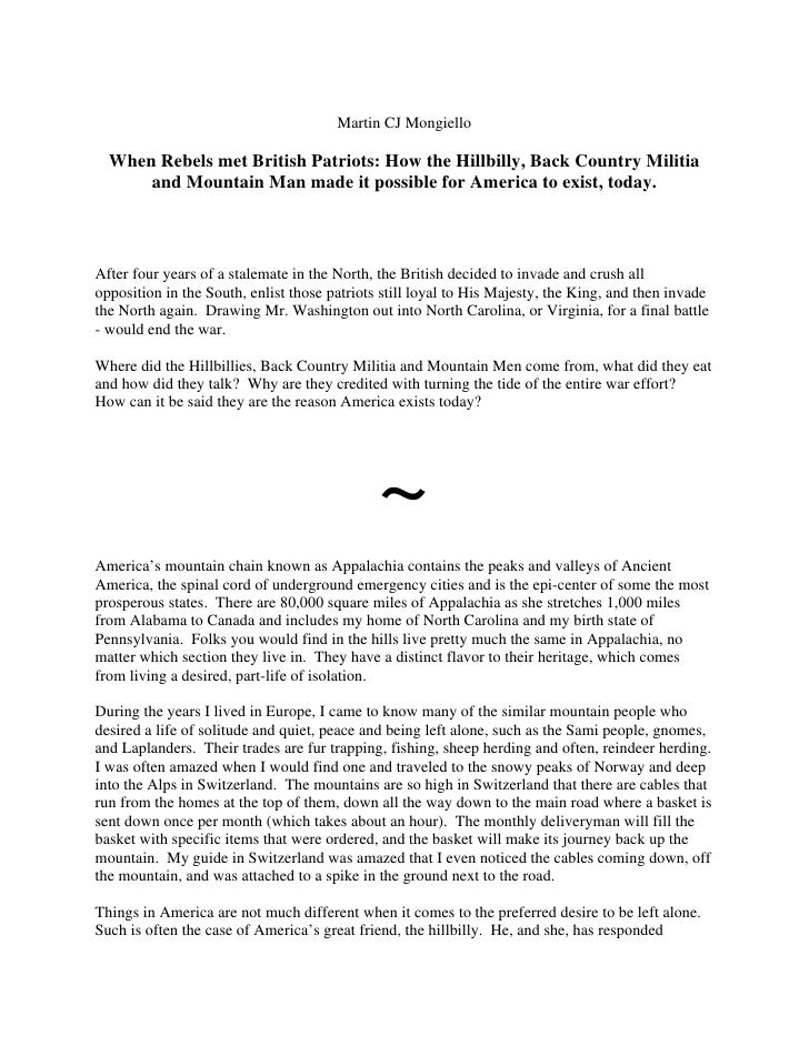 Martin CJ Mongiello    When Rebels met British Patriots: How the Hillbilly, Back Country Militia       and Mountain Man ma...