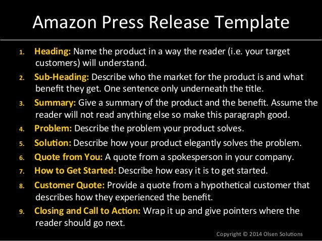 Amazon  Press  Release  Template  1. Heading:  Name  the  product  in  a  way  the  reader  (i.e.  your  target  customers...