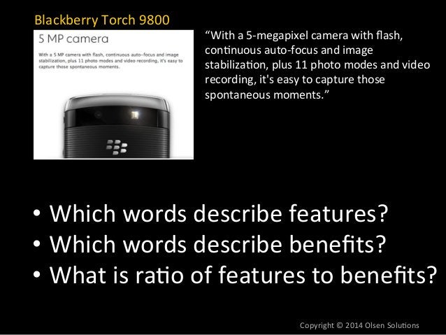 """Blackberry  Torch  9800  """"With  a  5-‐megapixel  camera  with  flash,  con7nuous  auto-‐focus  and  image  stabiliza7on,..."""