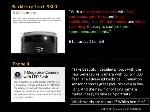 """Blackberry  Torch  9800  iPhone  4  """"With  a  5-‐megapixel  camera  with  flash,  con7nuous  auto-‐focus  and  image  st..."""