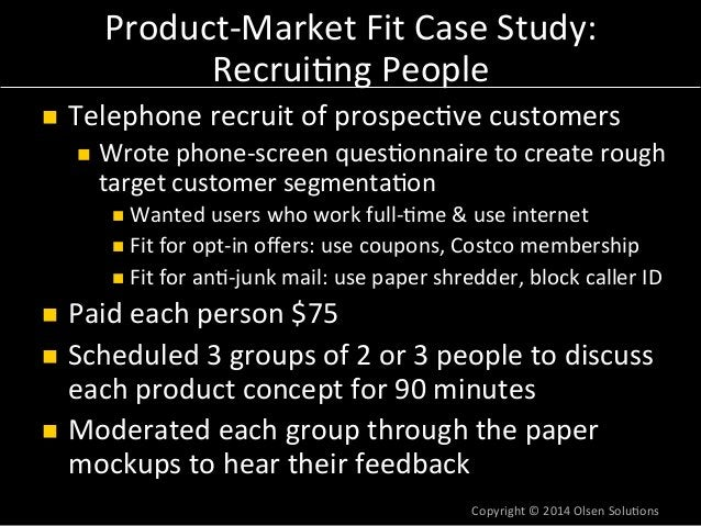 """Product-‐Market  Fit  Case  Study:  Learnings  from  Research  n Learned  that  """"Shield""""  (an7-‐junk  mail)  concept  w..."""