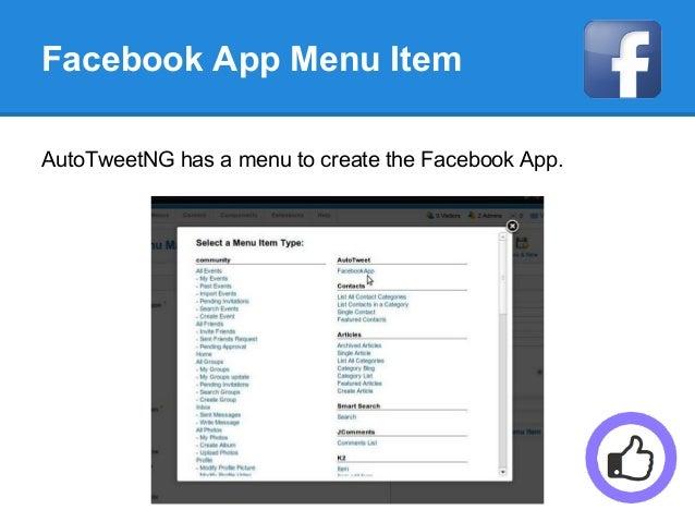 Facebook App Menu Item AutoTweetNG has a menu to create the Facebook App.