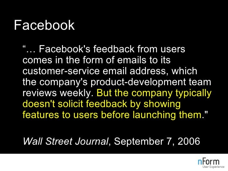 """Facebook <ul><li>""""…  Facebook's feedback from users comes in the form of emails to its customer-service email address, whi..."""
