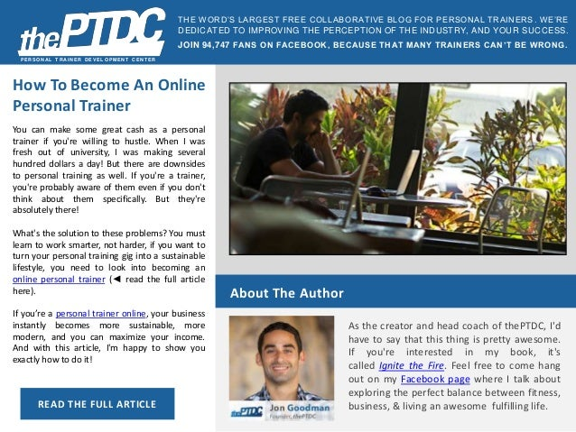 PERSONAL T RAINER DEVELOPMENT CENT ER How To Become An Online Personal  Trainer You can make