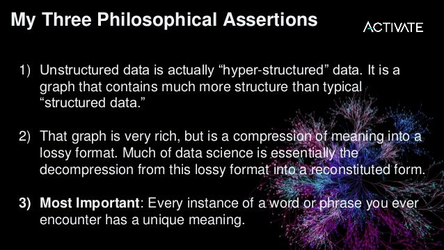 """Assertion 1: Unstructured data is actually """"hyper-structured"""" data. It is a graph that contains much more structure than t..."""