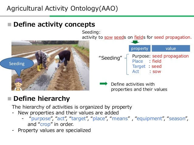  Define activity concepts  Define hierarchy Seeding: activity to sow seeds on fields for seed propagation. Purpose: seed...