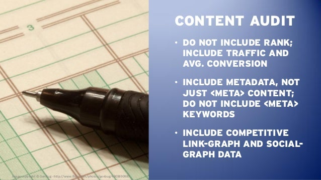 CONTENT AUDIT                                                                            • DO NOT INCLUDE RANK;           ...