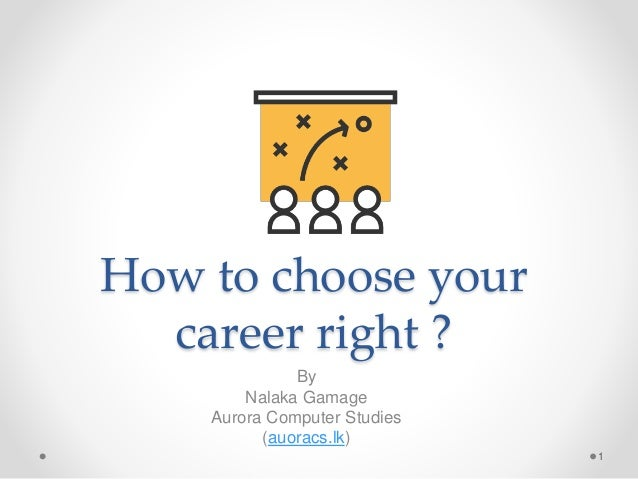How to choose your career right ? By Nalaka Gamage Aurora Computer Studies (auoracs.lk) 1