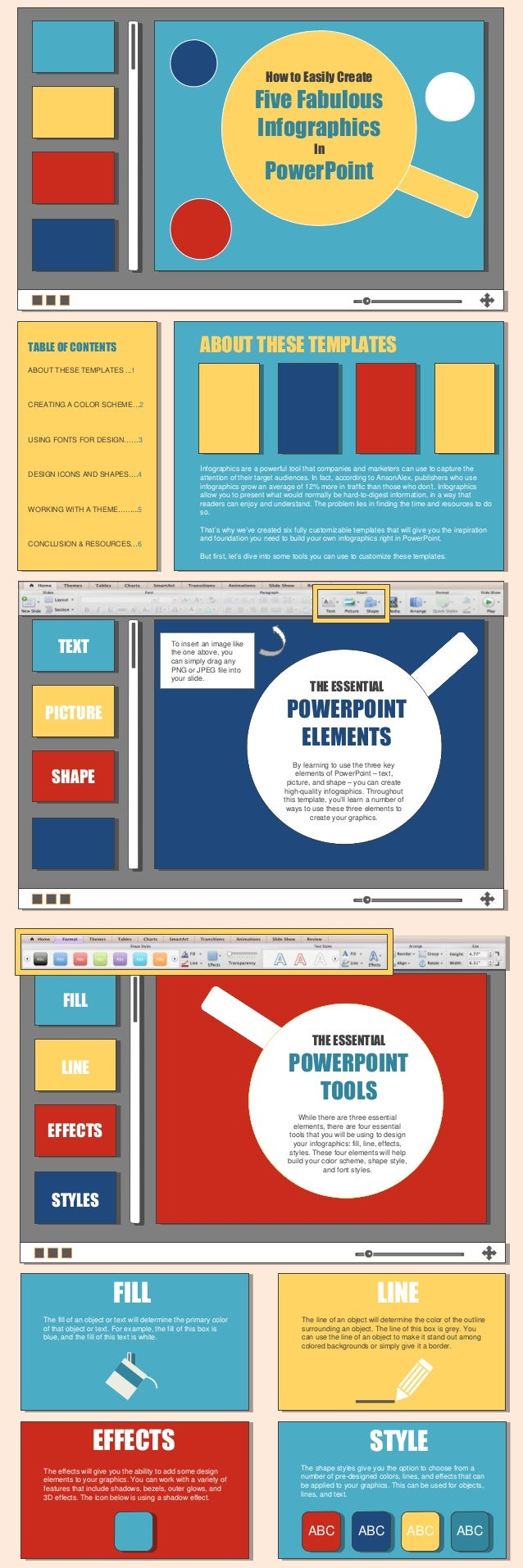How to Easily CreateFive FabulousInfographicsInPowerPointTABLE OF CONTENTSABOUT THESE TEMPLATES ...1CREATING A COLOR SCHEM...