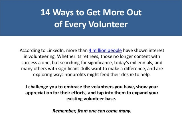 How to Get More Out of Every Volunteer
