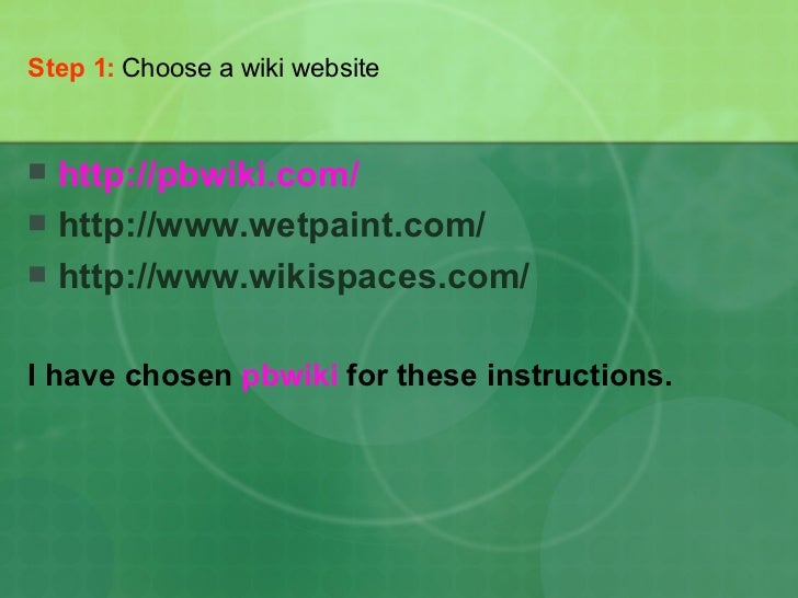 How To Create A Wiki Slide 2
