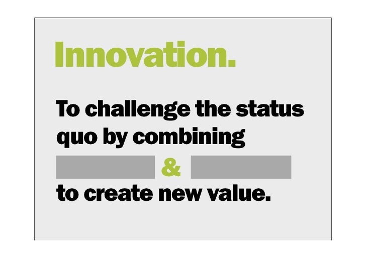 create an innovation As you create your own innovations, always carry out your research first make sure that you come up with a solution that solves one, two, or more problems and tackles people's pain points head on.