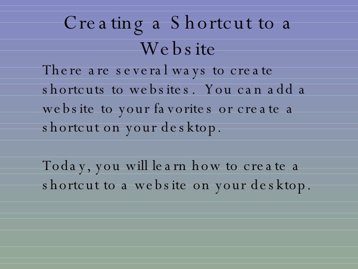 how to make shortcut for website