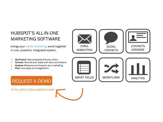 HubSpot's All-in-OneMarketing Softwarebrings your whole marketing world togetherin one, powerful, integrated system.      ...