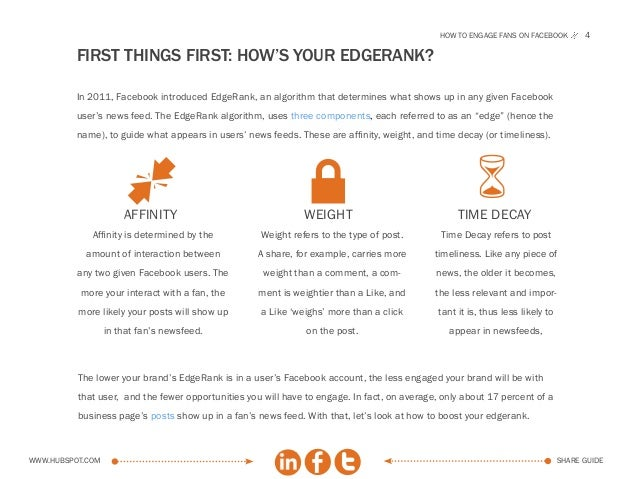 How to engage fans on facebook          4          FIRST THINGS FIRST: How's your EdgeRank?          In 2011, Facebook int...