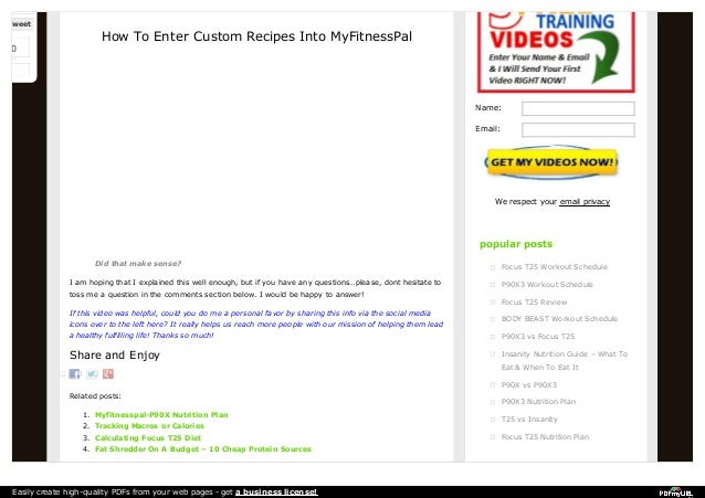 Easy methods to enter a recipe into myfitnesspal