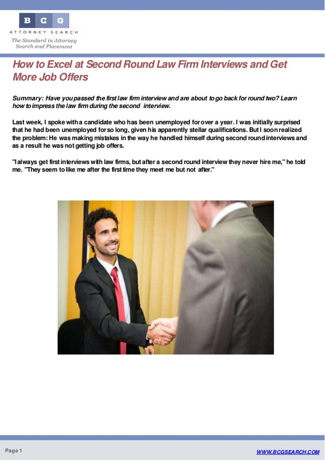 How to Excel at Second Round Law Firm Interviews and Get