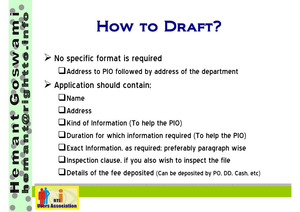 How To File Rti Application Hemant Goswami