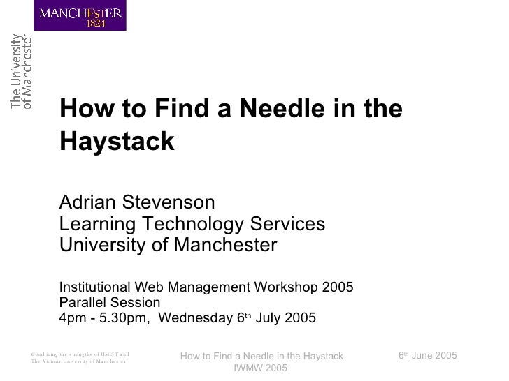How to Find a Needle in the Haystack Adrian Stevenson Learning Technology Services University of Manchester Institutional ...