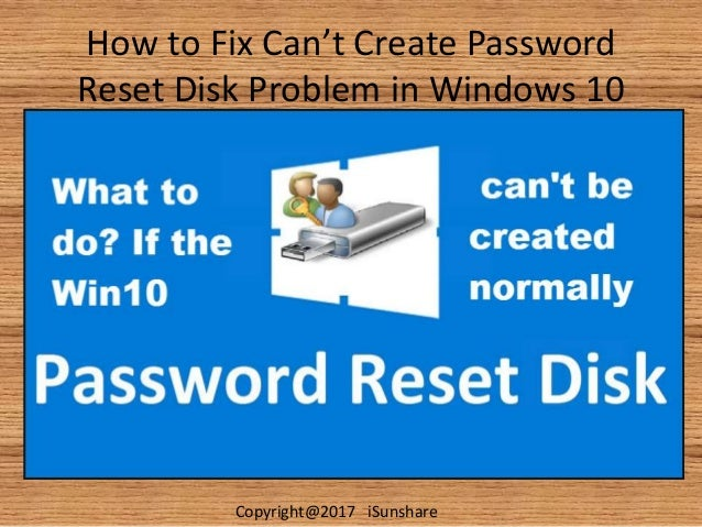 create password recovery disc windows 10