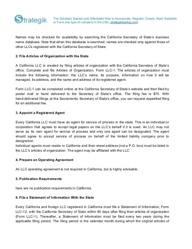 How to-form-an-llc-in-california on sample statement of information ca, california statement of information form, sample quality policy statements,