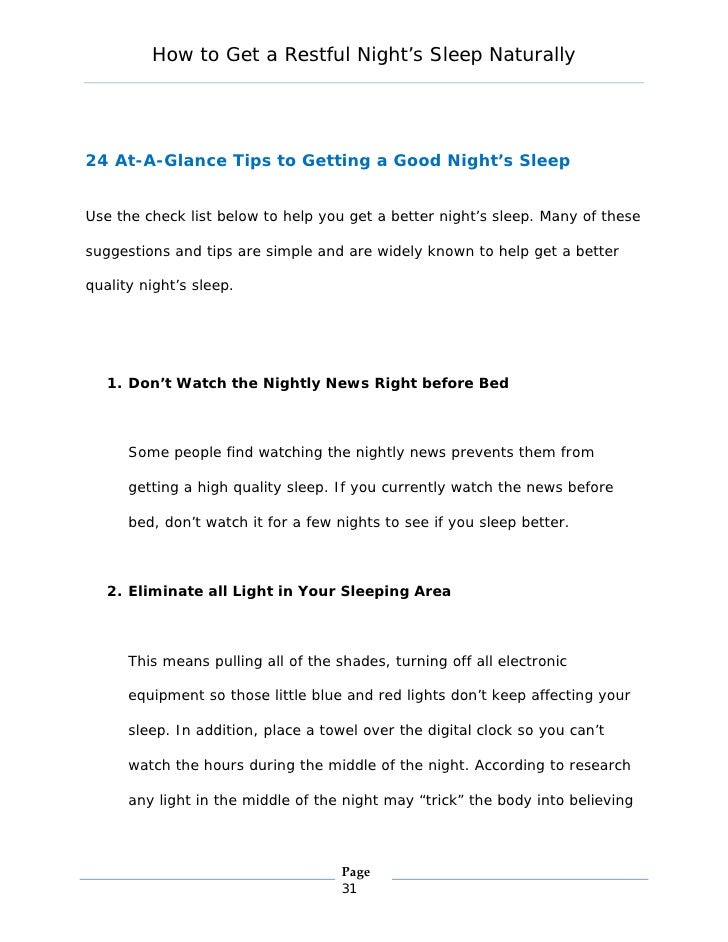 How To Get A Restful Night Sleep 1