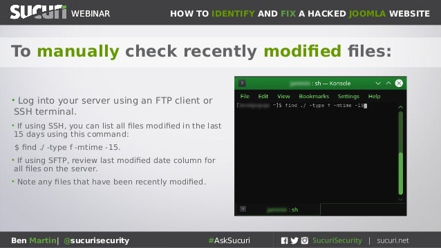Sucuri Webinar: How to identify and clean a hacked Joomla