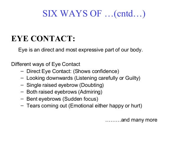 Direct Eye Contact Meaning