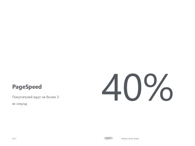 PageSpeed 2017 Mobile UI/UX details Покупателей ждут не более 3- ех секунд 40%