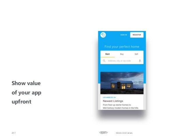 Show value of your app upfront 2017 Mobile UI/UX details