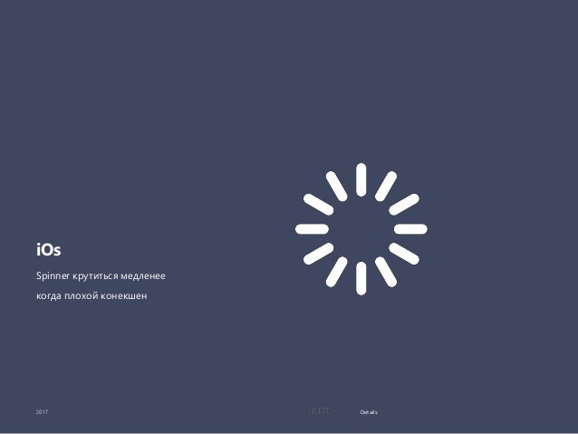 Details iOs Spinner крутиться медленее когда плохой конекшен