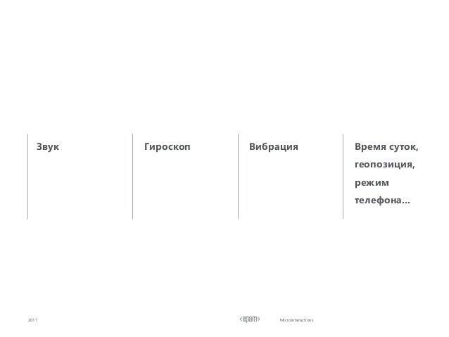 Microinteractions2017 Звук Гироскоп Вибрация Время суток, геопозиция, режим телефона...